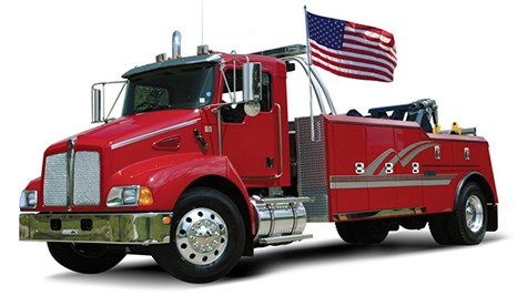 "The ""Liberty"" Vehicle Flag Pole System on Tow Truck"