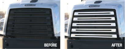 Freightliner Grille Cover Before & After
