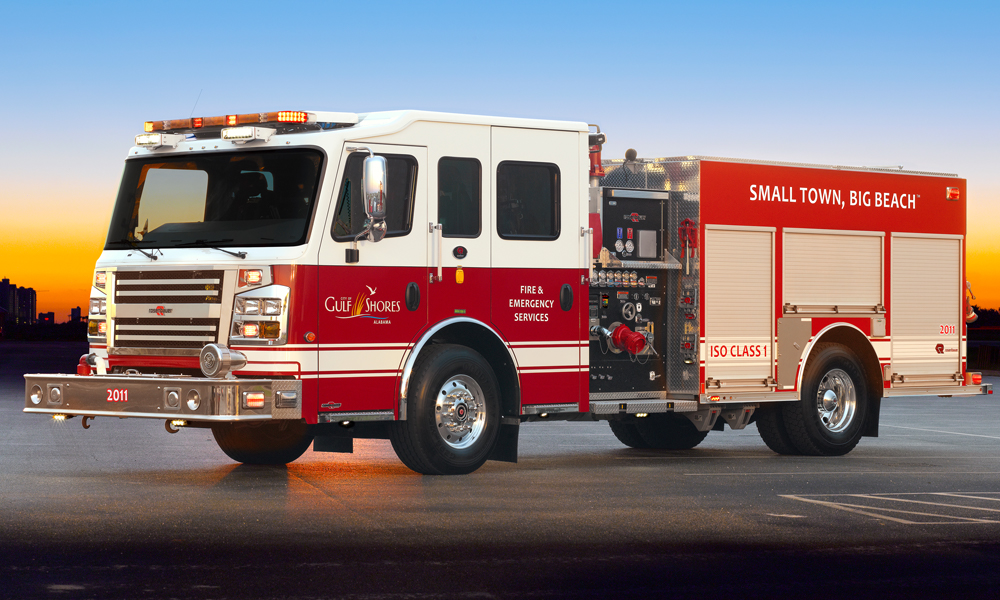 Fire Truck with Custom Grille, Axle Covers and fenderettes