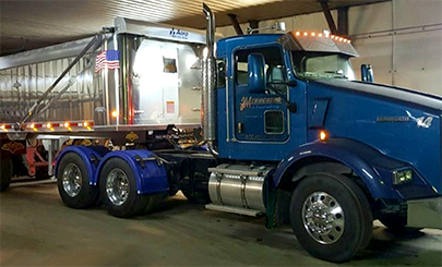Semi with Blue Poly Single Arch Fenders