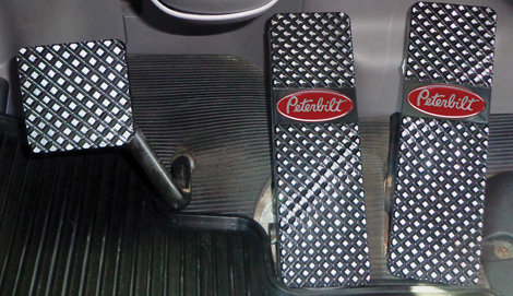 Peterbilt 379, 386, 388, 389 Black Billet Pedals available at Peterbilt Dealers