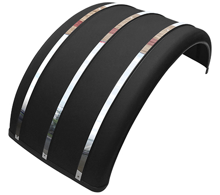 "25"" Black Poly Single Arch Fenders with Stainless Steel Inserts"