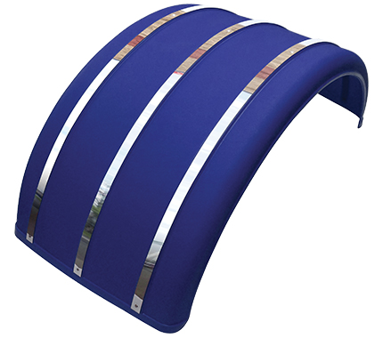 "25"" Blue Poly Single Arch Fenders with Stainless Steel Inserts"