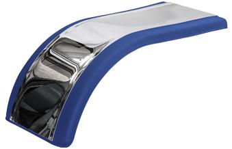 Prestige™ Blue Half Tandem Fender with Mirror Finish Stainless Steel