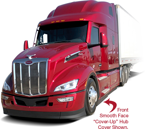 Peterbilt Semi with Smooth Face Cover-Up Hub Covers
