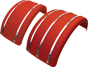"19"" & 25"" Red Poly Single Arch Fenders with S.S. Inserts"