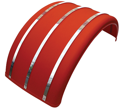 "25"" Red Poly Single Arch Fenders with Stainless Steel Inserts"